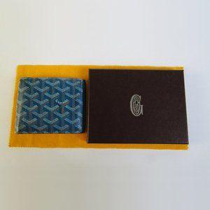 Authentic Goyard Florentin Bifold Wallet Blue